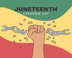 15 de junio día de la independencia día de la libertad o de la emancipación feriado anual estadounidense celebrado el 19 de junio cartel de la historia y el patrimonio afroamericano vector