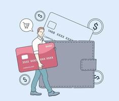 Cash payment money transaction saving and economy concept Man buyer hold huge credit card and stand near wallet Flat vector illustration