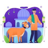 Eid Adha Mubarak Goats Sacrificial Concept vector