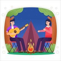 Camping de verano con hoguera y concepto de pareja. vector