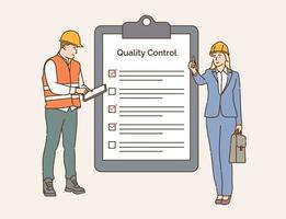 lista de verificación control de calidad concepto de la industria de la construcción equipo de ingenieros controlar y verificar trabajar juntos vector