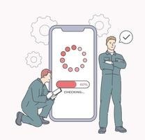 Electronic device reconditioning phone maintenance concept Workers fixing smartphone in gadget service Troubleshooting and maintenance of cellphone by repairment vector