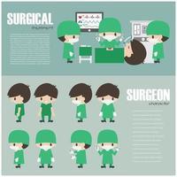 elemento de infografía quirúrgica y conjunto de vector de personaje de dibujos animados de cirujano