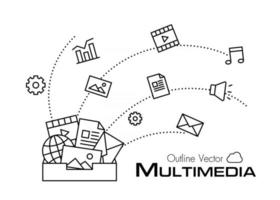Multimedia box  outline style vector
