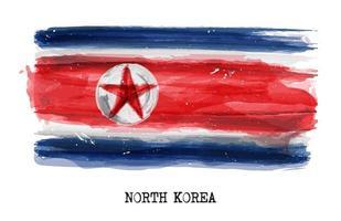 pintura de acuarela bandera de vector de corea del norte