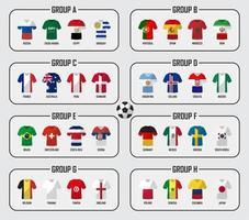 El grupo del equipo de la copa de fútbol 2018 fijó a los jugadores de fútbol con el uniforme de la camiseta y el vector de banderas nacionales para el torneo del campeonato mundial internacional