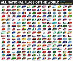 All official national flags of the world  Sticky note design  Vector