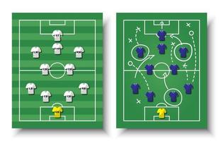 Soccer cup formation and tactic  Set of top view football field and players with jersey on white isolated background  Vector for international world championship tournament 2018 concept