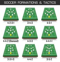 formación de la copa de fútbol y conjunto de tácticas de vista en perspectiva del campo de fútbol y jugadores en el vector de fondo blanco aislado para el concepto del torneo del campeonato mundial internacional 2018