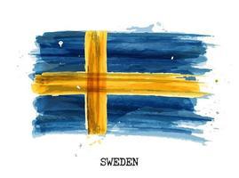 diseño de pintura de acuarela bandera de suecia vector