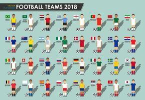 equipos de la copa de fútbol 2018 conjunto de jugadores de fútbol con uniforme de camiseta y vector de banderas nacionales para el torneo del campeonato mundial internacional