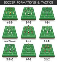 formación de la copa de fútbol y conjunto de tácticas de campo de fútbol en perspectiva y jugadores en vector de fondo blanco aislado para el torneo del campeonato mundial internacional 2018