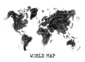 Diseño de pintura de acuarela de vector de concepto de contaminación ambiental de mapa mundial