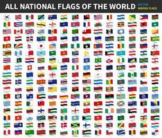 All official national flags of the world  Waving design  Vector