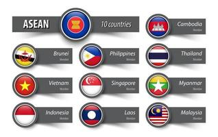 ASEAN  Association of Southeast Asian Nations  and member  Sticky note style vector