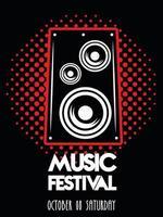 cartel del festival de música con altavoz en fondo punteado vector