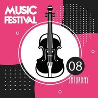 music festival poster with cello instrument vector