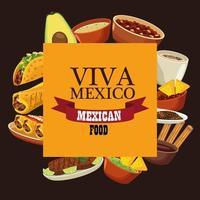Letras de viva mexico y cartel de comida mexicana con menú en marco cuadrado vector