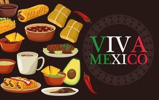 Letras de viva mexico y cartel de comida mexicana con menú de paquete vector