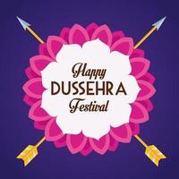 happy dussehra festival poster with arrows crossed in blue background vector