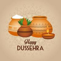 happy dussehra festival lettering poster with ceramic jars and candle vector