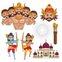 happy dussehra festival poster with set icons vector