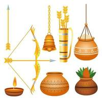 happy dussehra festival poster with bundle icons vector