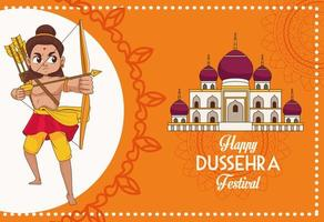 happy dussehra festival poster with rama character and mosque vector