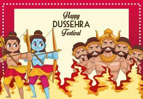happy dussehra festival poster with two rama and ten headed ravana characters vector