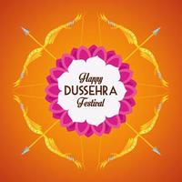 happy dussehra festival poster with arrows crossed in orange background vector