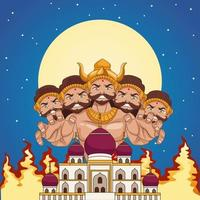 happy dussehra festival poster with ten headed ravana and mosque building at night vector