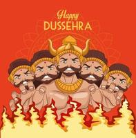 happy dussehra festival poster with ten headed ravana and fire flames vector