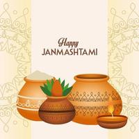 happy dussehra festival poster with ceramic jars and candle vector
