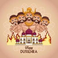 happy dussehra festival poster with ten headed ravana and mosque building vector