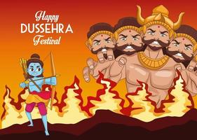 happy dussehra festival poster with ten headed ravana and rama blue on fire vector