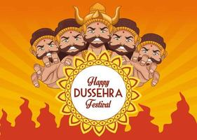 happy dussehra festival poster with ten headed ravana and mandala vector