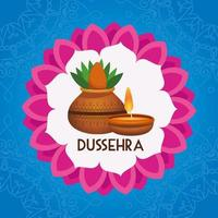 happy dussehra festival poster with house plant and candle in mandala vector