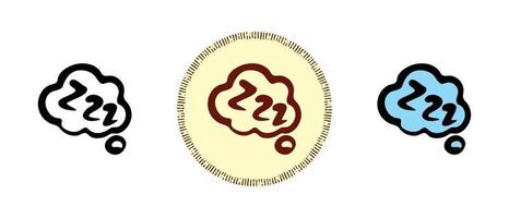 Sleeping cloud outline and colors and retro symbols vector