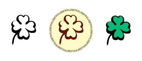 Four leaf clover outline and colors and retro symbols vector