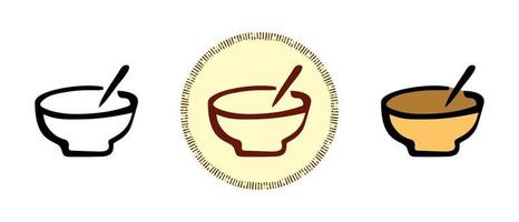 Earthen bowl with chopsticks outline and colors and retro symbols vector