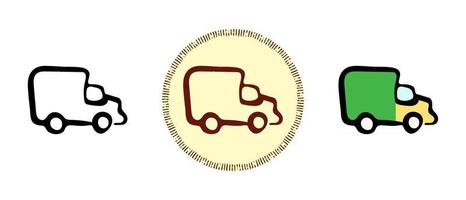 Baby truck outline and colors and retro symbols vector