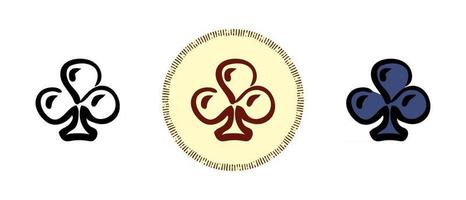 Ace of clubs outline and colors and retro symbols vector