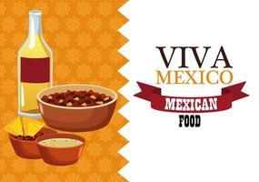 Letras de viva mexico y cartel de comida mexicana con frijoles refritos y nachos en salsa vector