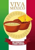 Letras de viva mexico y cartel de comida mexicana con nachos en salsas vector