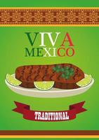 viva mexico lettering and mexican food poster with beef steak and lemon vector