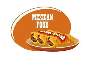 cartel de letras de comida mexicana con burritos en plato vector