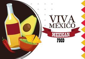 viva mexico lettering and mexican food poster with tequila and nachos vector