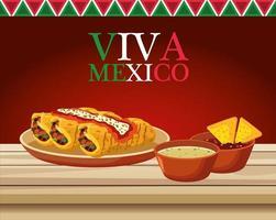 Letras de viva mexico y cartel de comida mexicana con burritos y salsas vector