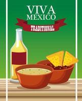 Letras de viva mexico y cartel de comida mexicana con nachos en salsas y tequila vector