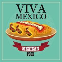 Letras de viva mexico y cartel de comida mexicana con burritos en plato vector